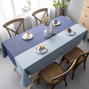 New Color Block Tablecloth with Tassels